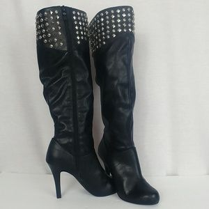 BCBGengeration sz 6.5 Black Leather Studded Boots